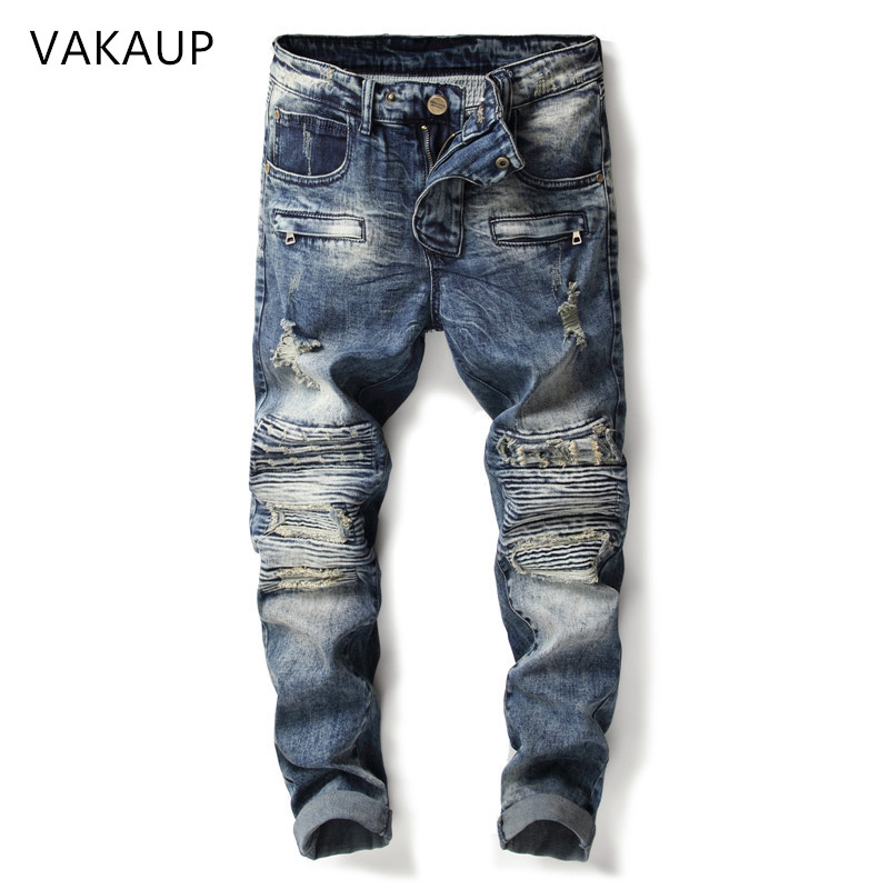 2019 New Fashion Ripped Jeans Men Patchwork Hollow Out Printed Beggar Cropped Pants Man CowboysPants Male