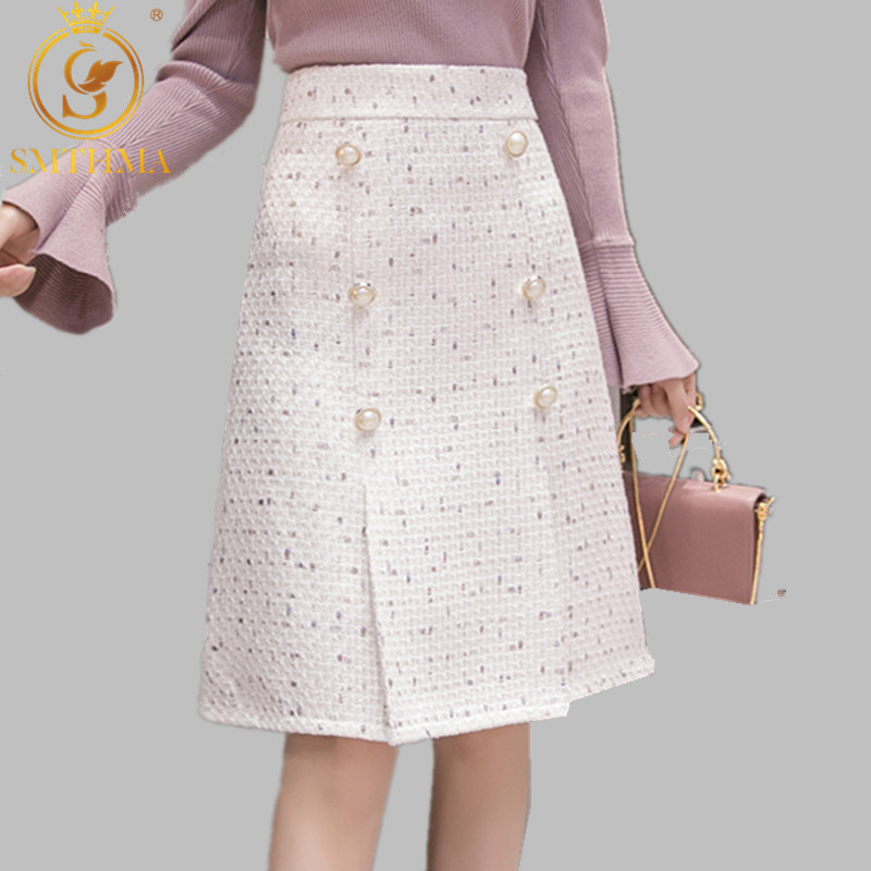 SMTHMA 2019 New Autumn And Winter Tweed Women's Skirt Elegant Office Double Breasted Vintage Package Hip Skirt Female