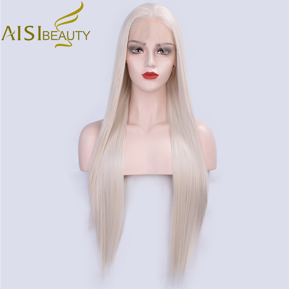 AISI BEAUTY 13*4 Blonde Lace Front Wigs Synthetic Long Straight Wig For Women Pink Black White Ombre Gray Brown Cosplay Wigs