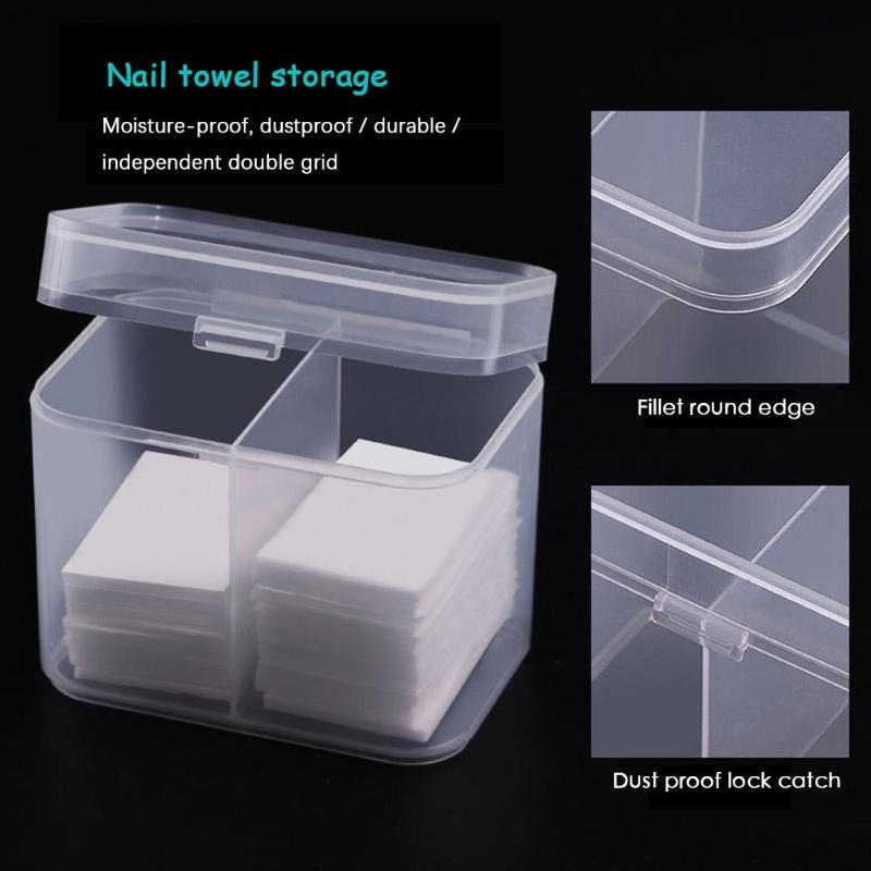 2 Lattice Plastic Nail Towel Storage Box Makeup Cotton Pads Make Up Removal Wipes Organizer Empty Box For Cosmetic Cotton Pad