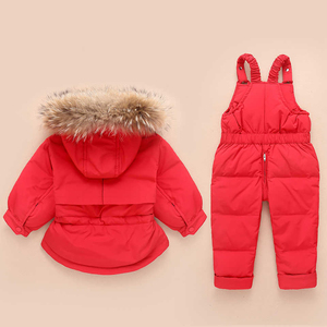 Image 2 - Russia Winter Children Clothing Sets Jumpsuit Snow Jackets+bib Pant 2pcs Set Baby Boy Girls Duck Down Coats Jacket With Fur Hood