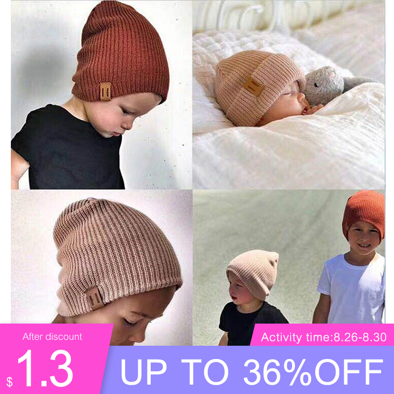 REAKIDS Winter Hat Beanie Warm-Cap Crochet Knit Baby-Girl Boy Children Casual Soft Elasticity