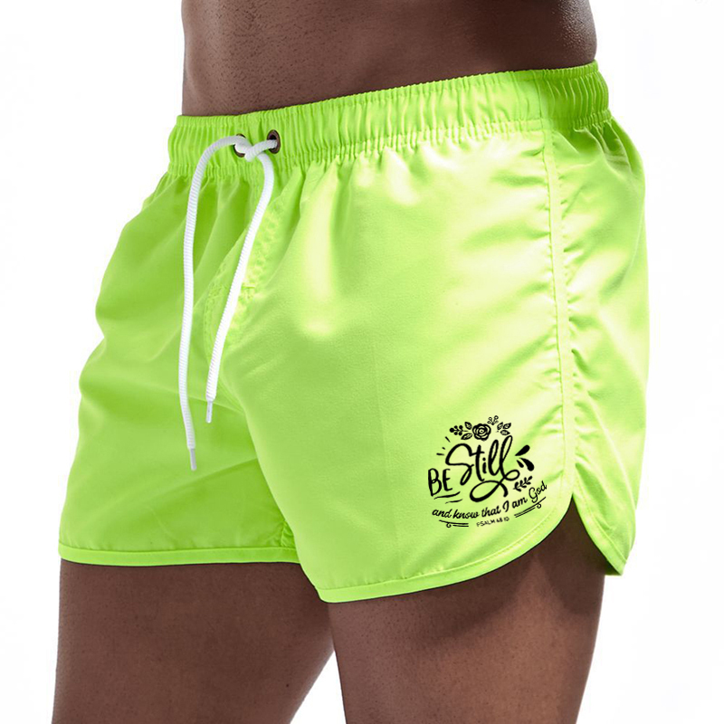Summer Men's Beach Shorts Letter Printed Fitness Sports Casual Elastic Waist Drawstring Male Board Short Pants S-3XL