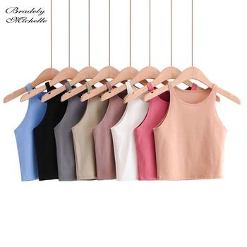 BRADELY MICHELLE 2020 Summer Sexy Women's Streetwear Crop Top Elastic Cotton sleeveless O-neck Solid Short Tank Bar 1