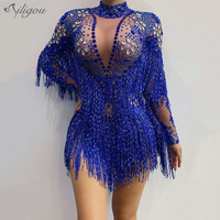 Ailigou Blue Silver Rhinestones Transparent Fringe Bodysuit Birthday Celebrate Long Sleeves Dance Bar Women Singer Outfit