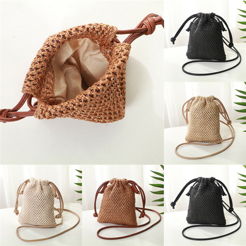 Women Ladies Straw Bag Retro Rattan Tote Handbag Woven Summer Beach Shoulder Bags Drawstring Bag