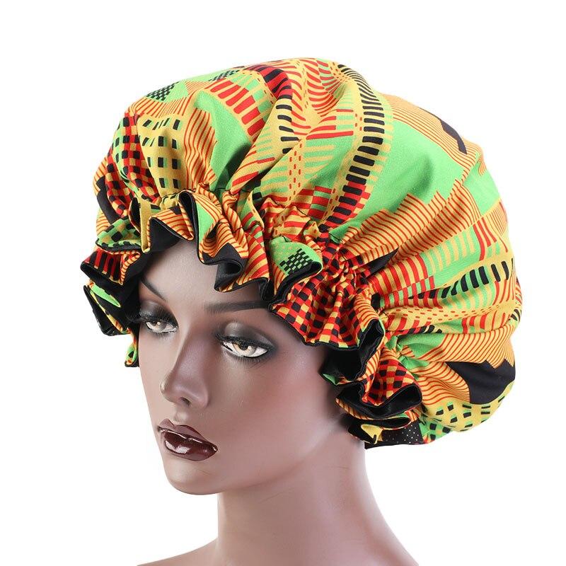Головной убор очень большого размера с Африканским принтом Анкара, головной убор для мусульманского сна для женщин, атласная эластичная ша...