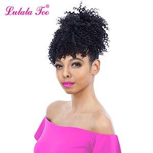 Image 1 - Синтетические кудрявые вьющиеся волосы 6 дюймов, парик конский хвост ананаса, накладные волосы пучок, шиньон, челка, наращивание волос на клипсе