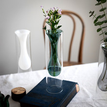 Nordic double glass vase plant crafts home office wedding home decoration gift test tube crystal