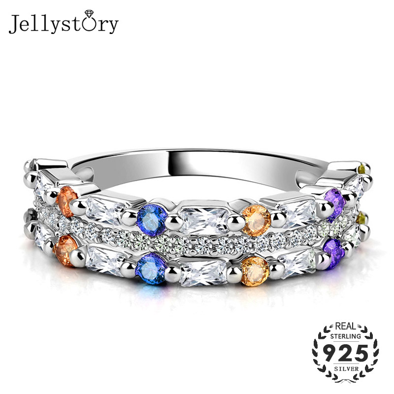 Jellystory Classic Silver 925 Rings with Colorful Zircon Gemstones for Women Wedding Engagement Party Gifts Wholesales Jewellery