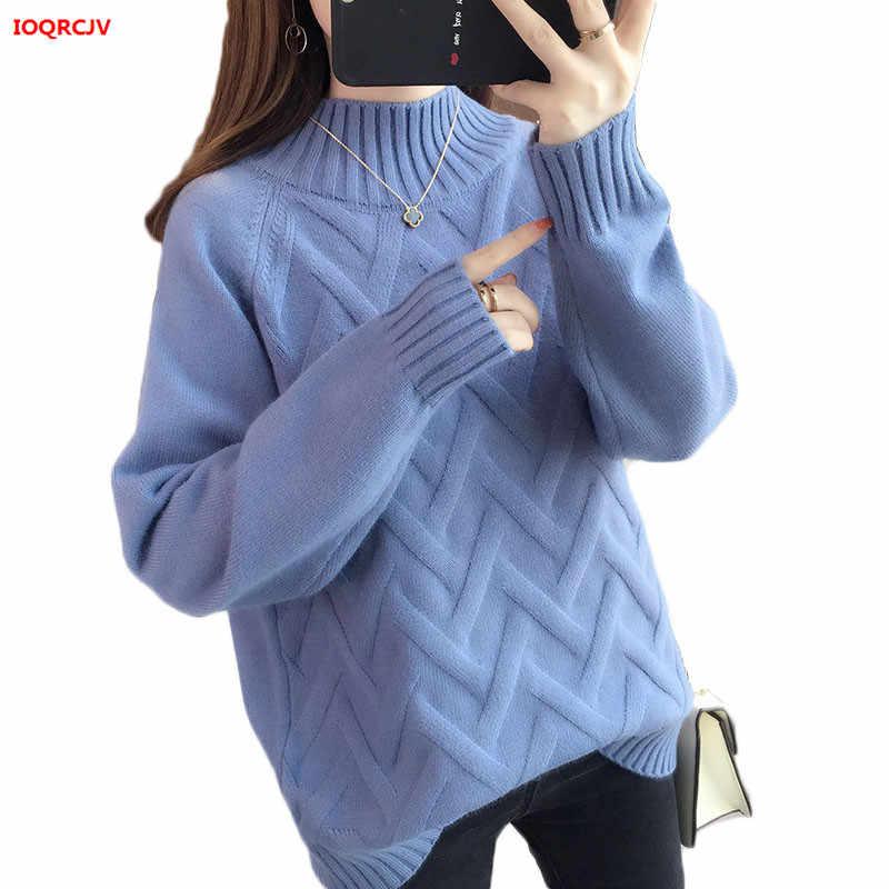 두꺼운 따뜻한 터틀넥 스웨터 여성 2019 겨울 긴 소매 점퍼 여성 스웨터와 풀오버 당겨 femme kintted 탑스 w1528