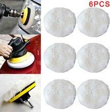 6Pcs Polishing Bonnet Buffer Pads Soft Wool For 9/10 Inch Car Polisher Polishing Pad Cleaning Tools Universal