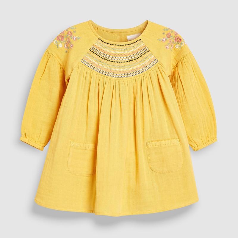 Little maven 2-7Years 2021 Autumn Bay Girls Child Toddler Flower Embroidery Pocket Dress Children Kids Tops Tees Fall clothing 4