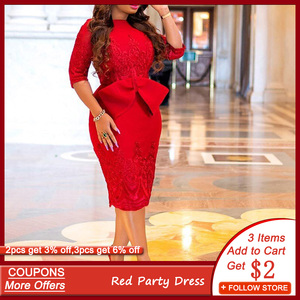 Red Elegant Party Dress Women Summer 2020 Folal Embroidery Print Midi Bodycon Robe Femme Bowknot Back Split Office Maxi Vestidos