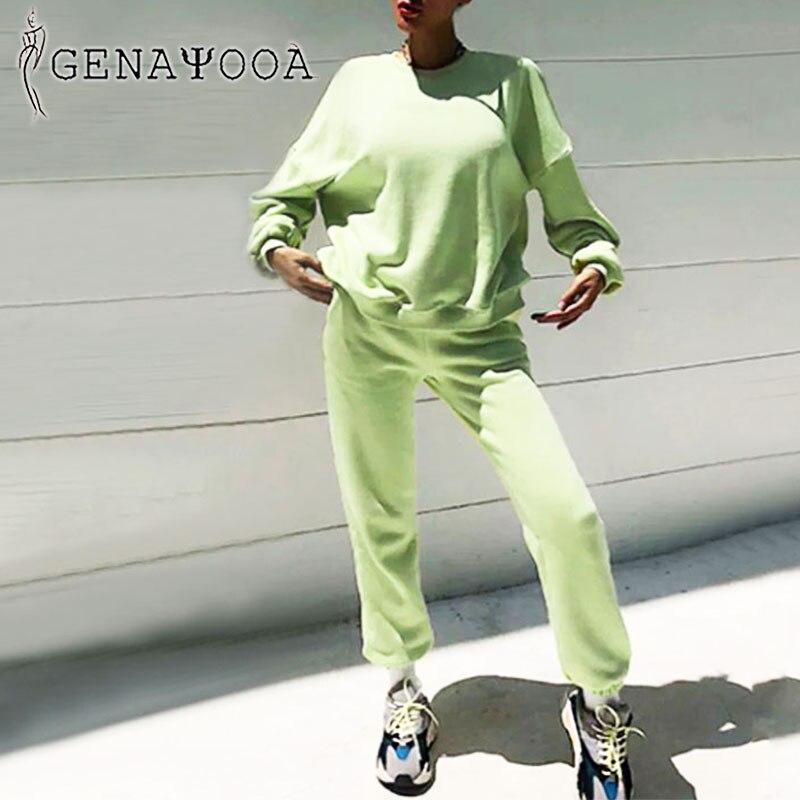 Женский спортивный костюм genayoa, корейский комплект из двух предметов на осень и зиму 2020, топ и штаны, свитер большого размера, комплект из 2 предметов|Спортивные костюмы|   | АлиЭкспресс - Outfit