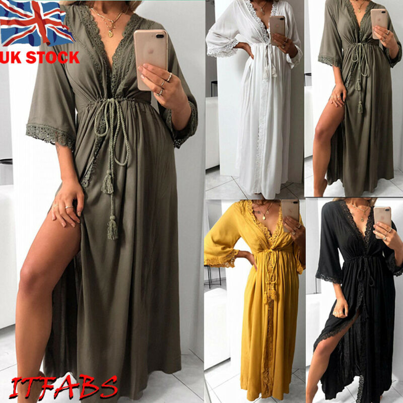 Hirigin Sexy Women Swimwear Long Dress Mesh Cover-Ups Cardigan  Bikini Solid Swim Cover Up Beach Maxi Dresses Bathing Suit