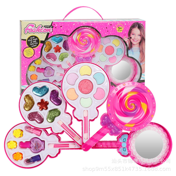Pretend Play Cosmetics Toys For Girl Beauty Safe Non-toxic Make Up Toys For Princess Set Lollipop Box New Fashion Make Up Kit