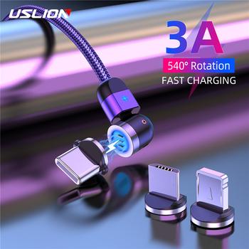 USLION 3A magnetyczny Micro USB typ C kabel akcesoria do telefonów ładowanie dla iPhone 7 8 Plus Xr 11 Xiaomi Redmi ładowarka 540 obrót tanie i dobre opinie TYPE-C LIGHTNING CN (pochodzenie) Magnetyczne 0 5M 1M 2M For iphone 11 Pro Max X XS Max XR 8 7 6 6S Plus 5 5s se cable cord