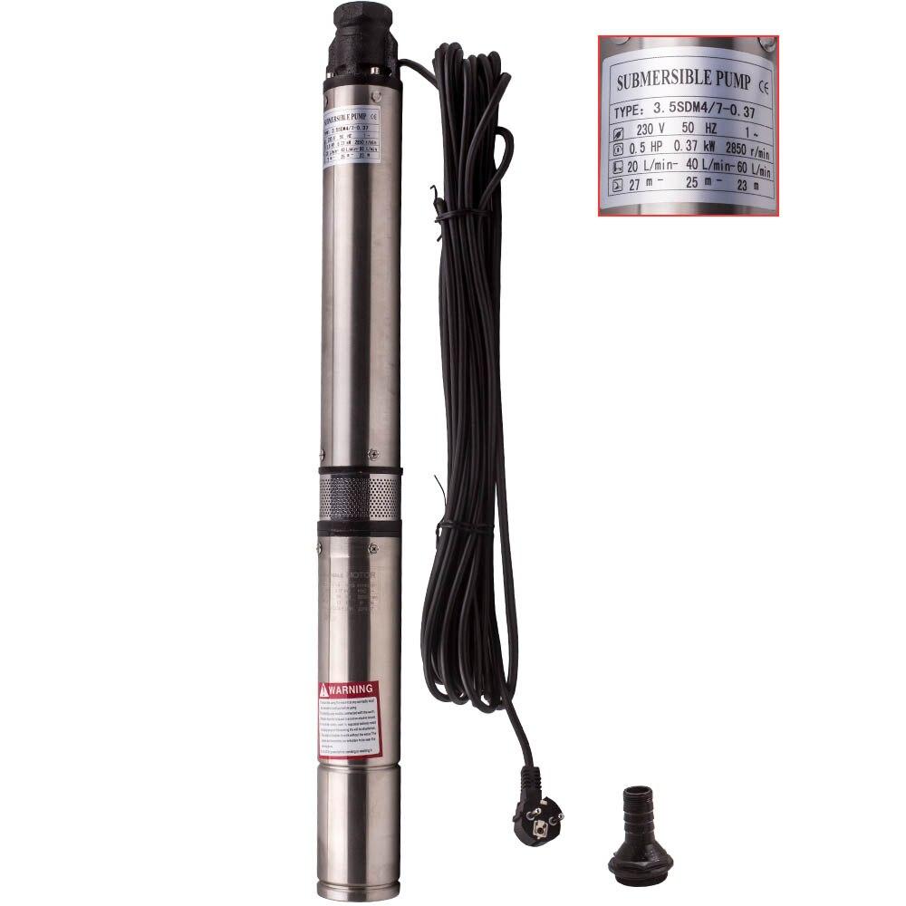 370 Вт 4000 л/ч погружной бесщеточный скважинный насос + 20 м кабель макс. головка 56 м