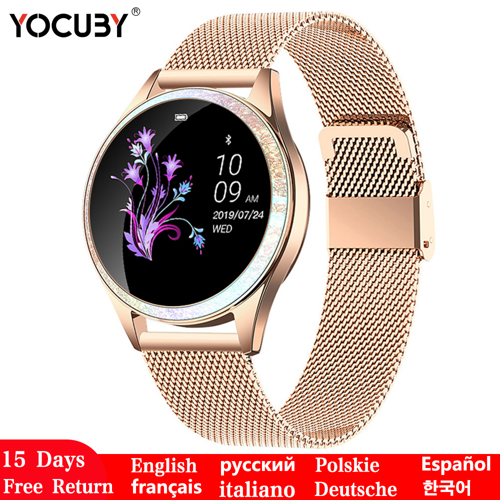 YOCUBY Smart Watch Women Full Screen Diamond Alloy Smartwatch Heart Rate Monitor Sport Lady Watch for IOS Android KW20