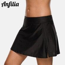 Anfilia Women Bikini Bottom Swim Trunks Ban Solid Swim Skirt Build-in Brief Swim