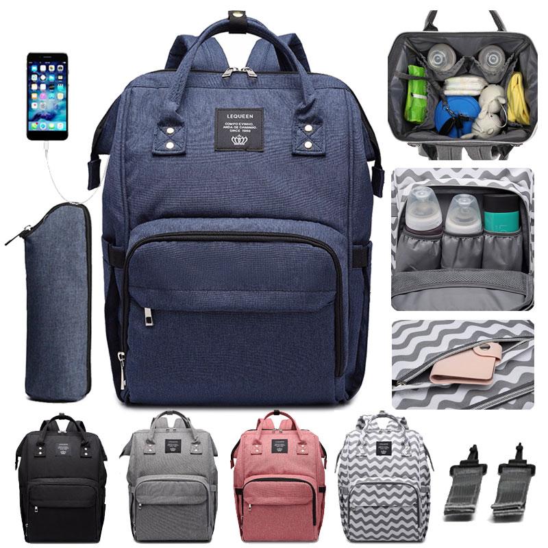 Diaper Bag Upgrade USB Port Baby Bags Stroller Hook Mummy Nappy Bag Large Capacity Maternity Backpack Waterproof Nurse Bag