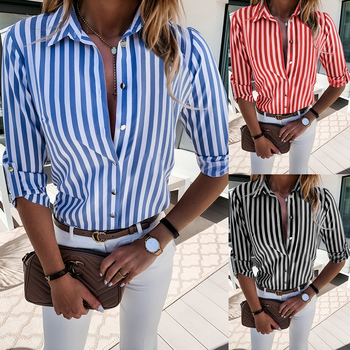 Long Sleeve Shirt Blouses For Women Autumn Business Office Ol Ladies Shirt Tops Striped Printed Female Blouses Tops D30 spring and autumn new 2019 chiffon shirt women s tops long sleeve v collar chiffon office printed women s blouses shirt 932i