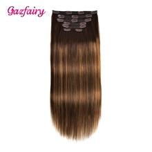Gazfairy Реми волосы прямые клип в человеческих расширения двойной уток естественный цвет 18 дюйм 120г 7pcs/набор полный головы для женщин
