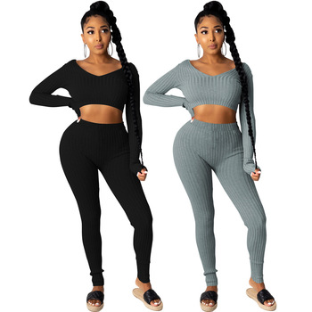 Black/grey Cotton Ribbed Knitted Bodycon Two Piece Set for Women Elastic Hight Long Sleeve Crop Top and Skinny Legging Tracksuit image