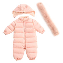Newborn baby winter Jumpsuit boys and girls down climbing suit thick skiing suit lovely baby clothes natural leather fur collar