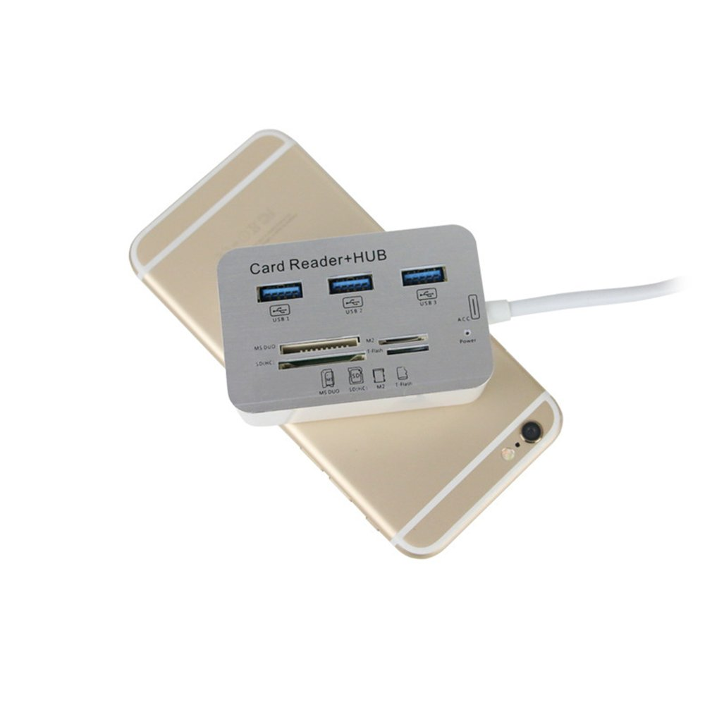 aluminum alloy USB 3.0 High Speed 7 in 1 Memory Card Reader Flash Adapter MS/M2/TF Adapter 3-port splitter COMBO aluminum alloy (3)