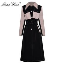MoaaYina Fashion Designer Runway Long Windbreaker Houndstooth Long sleeve Patchwork Velvet Windbreaker Coat