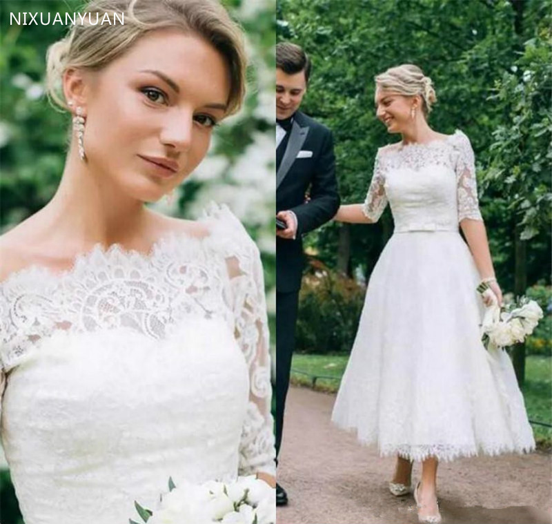 Vintage Tea Length Wedding Dress A Line Half Sleeve Lace Tulle Short Bridal Gowns Boat Neck Custom Made Brides Gowns