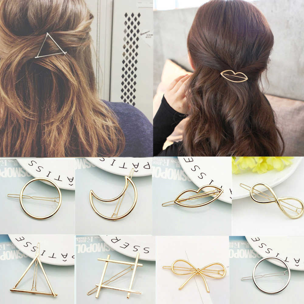 2019 Cute Fashion Hair Clip for Women Elegant Design Triangular Moon Lip Round Barrette Stick Hairpin Hair Pins Head Accessories