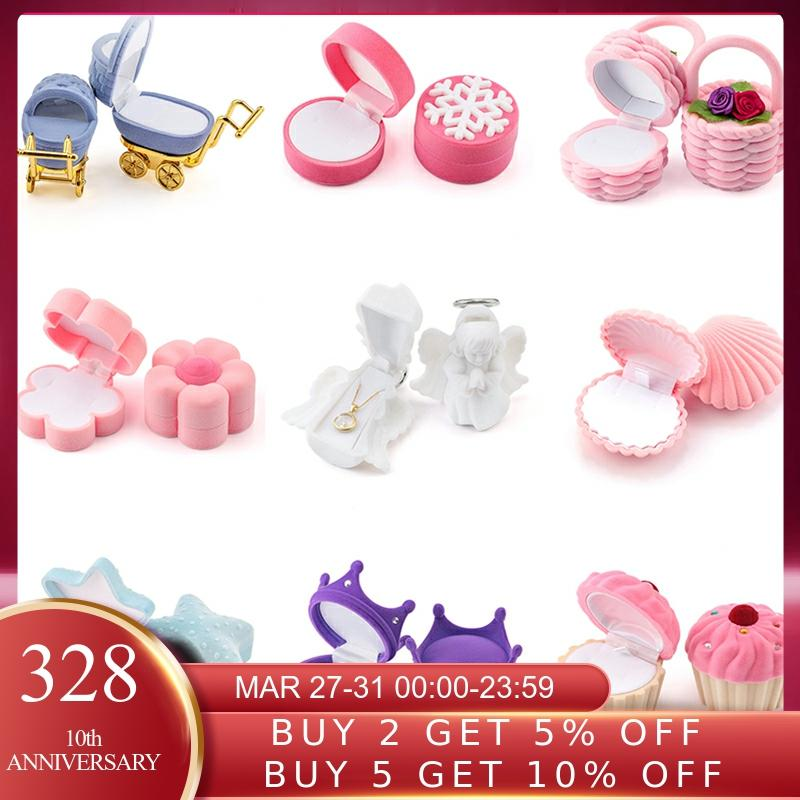 1 Piece Lovely Velvet Jewelry Box Container Wedding Ring Box For Earrings Necklace Bracelet Display Gift Box Holder 16 Styles