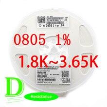 Série 100 0805 original 1% série RC0805FR-07 k-1.8k todos os resistores 3.65k 2k 1.8k 2.2k 2.4k 3k 2.7k 3.3k 3.6k k k k k k