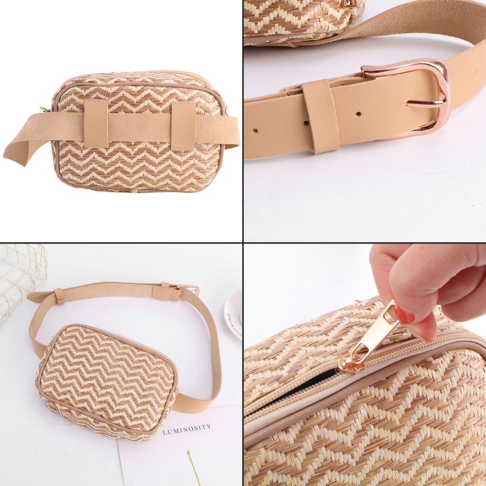 Fashion Waist Bag Summer Beach Straw Hand Woven Bags Belt Band Purse For Women Ladies Female 2019 New Travel Rattan Bag Pouch in Waist Packs from Luggage Bags