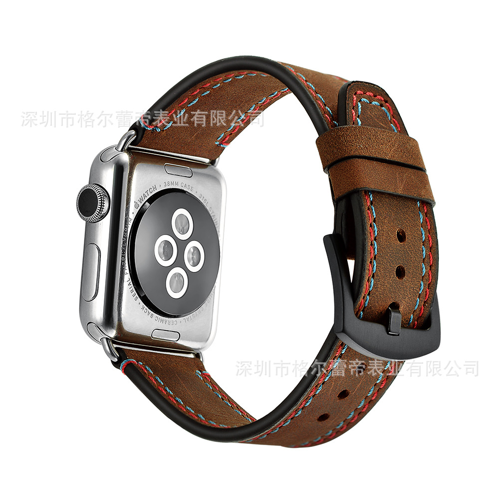 Suitable For Apple IWatch APPLE Watch Handmade Watch Strap Genuine Leather Crazy Horse Cowhide Double-Watch Band