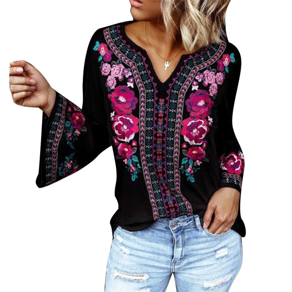 カジュアルシャツ女性長袖模造刺繍プリントフレアースリーブ大サイズブラウストップ tシャツ