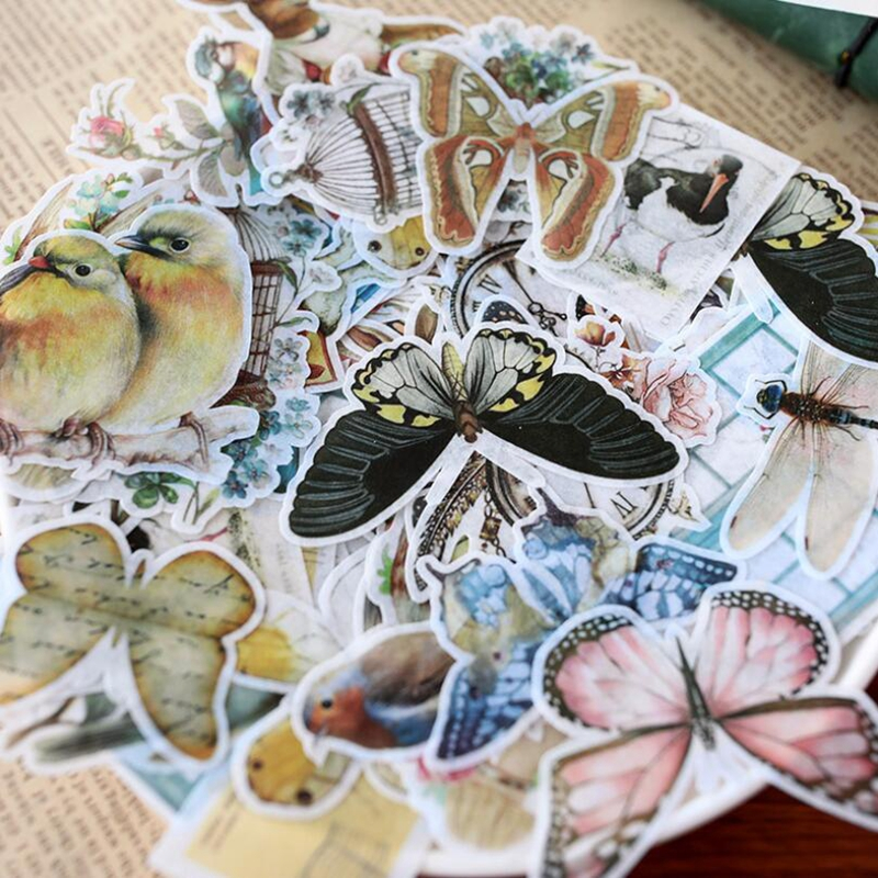 60pcs/pack Vintage Flower Stickers Scrapbooking Kawaii DIY Decoration Stick Label Cute Sticker Journal Stickers Kawaii Supplies