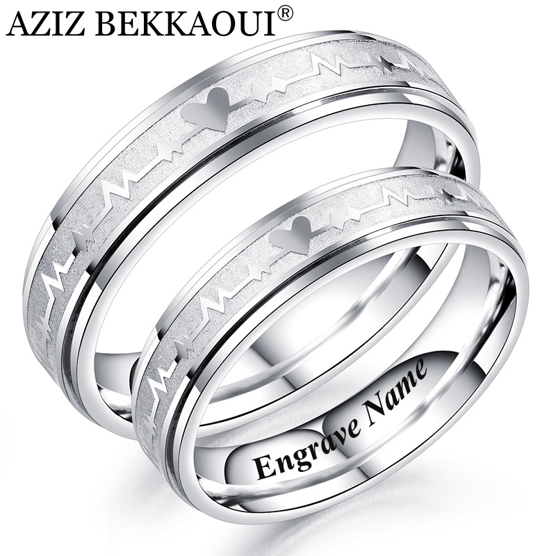 AZIZ BEKKAOUI Engrave Name Couple Rings Stainless Steel Ring Heartbeat Medical Symbol Engagement Wedding Band Dropshipping(China)