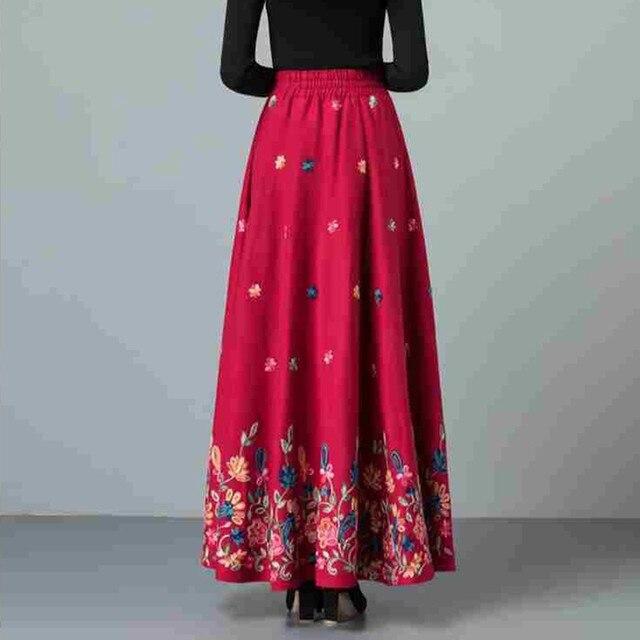 Mom elegant Embroidered Maxi pleated skirt Women Plus Size Winter Warm Woolen Long Skirt Lady High Waist Casual Wool Office saia 6