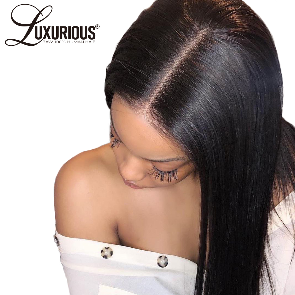 Wig Human-Hair-Wigs Lace-Frontal Straight Peruvian 360 with 150%Density Remy Pre-Plucked