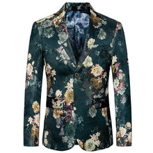 2019 New Fashion Men Blazer Trendy Wild High-end British Style Printing Quality Men's Leisure Large Size Business Flower Suit(China)