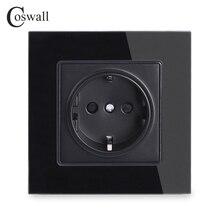 Coswall стены кристалл стекло Панель мощность разъем заземлен, 16A черный ЕС Стандартный электрическая розетка 86 мм* 86 мм