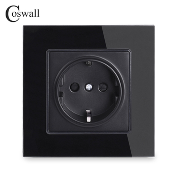 Coswall Wall Crystal Glass Panel Power Socket Plug Grounded, 16A Black EU Standard Electrical Outlet 86mm * - discount item  35% OFF Electrical Equipment & Supplies