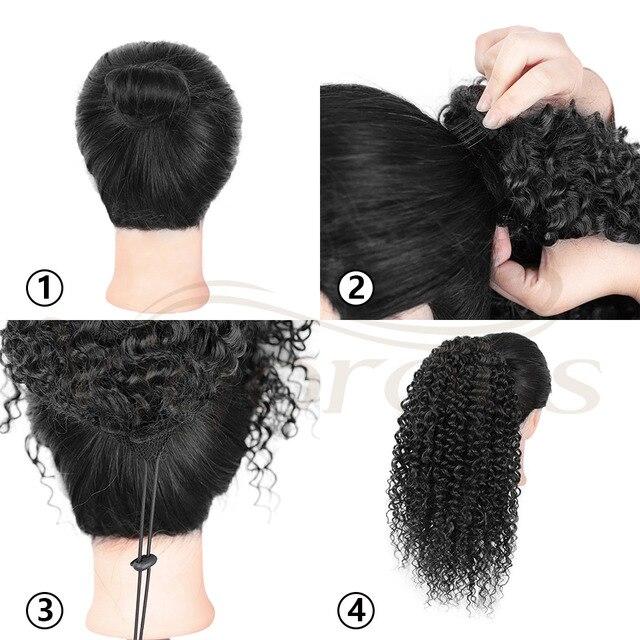 Grampo sintético do rabo de cavalo do cordão do afro americano em extensões do cabelo|Rabos de cavalo sintético|   -