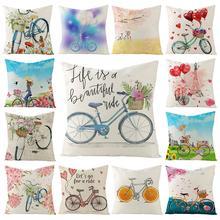 Мягкий льняной чехол для подушки с цветочным рисунком и изображением велосипеда и воздушных шаров