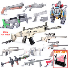Fortn Battle Royale Game Gun Model Key Chian Alloy Weapon Key Ring Keychain Christmas gift fortnight battle royale toy model the tactical shot gun keychain alloy weapons kids toy collection decoration