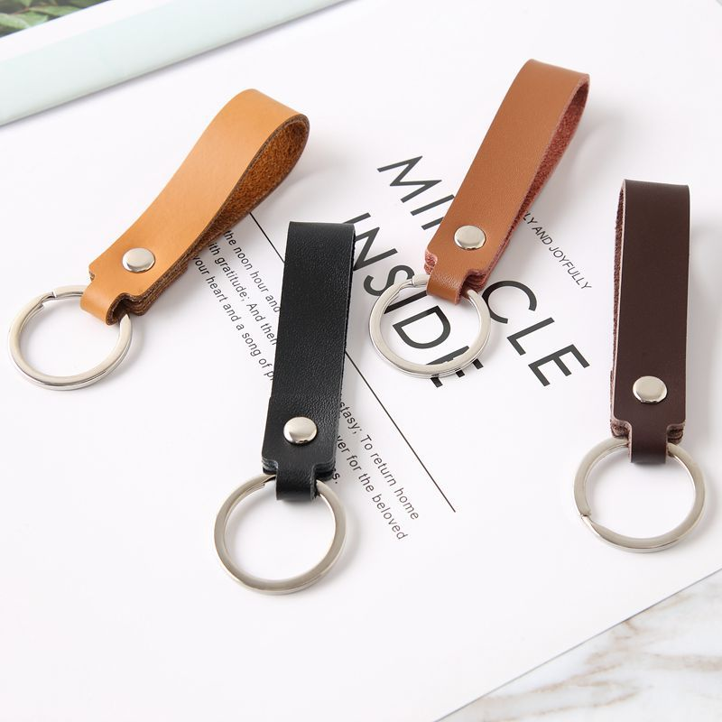 Vintage Leather Access Card Holder Keychain Rectangular Round Solid Community Cards Protective Case Key Fob Fashion Keyring